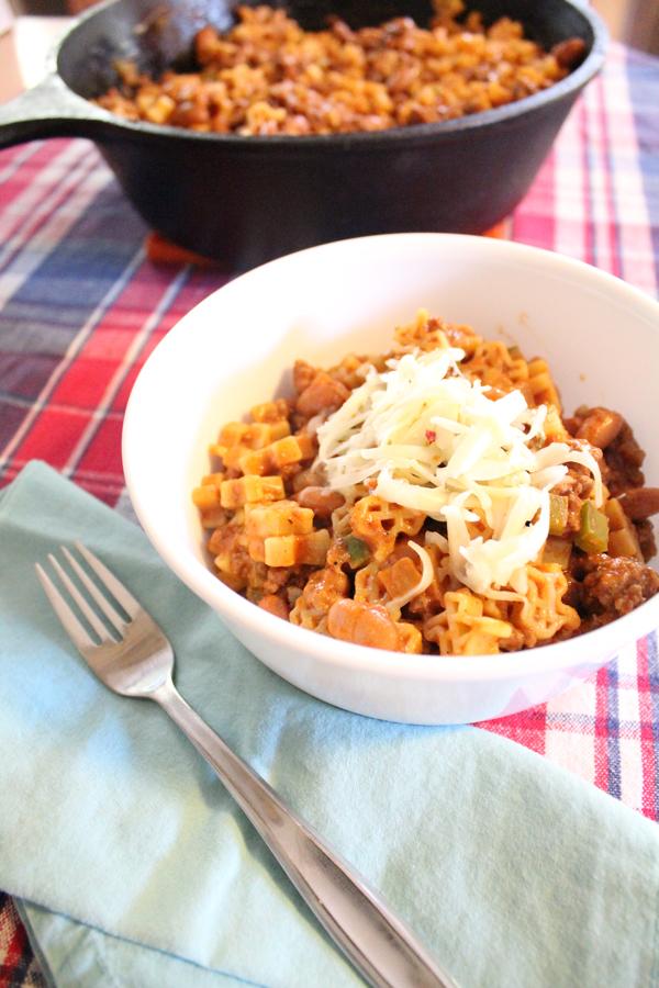 a big bowl of cheesy Texas chili mac