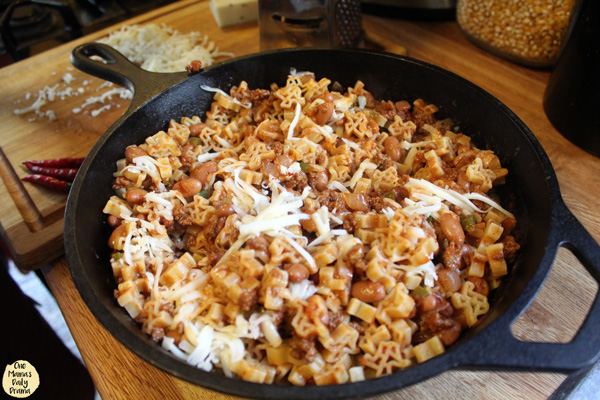 cheese on top of skillet