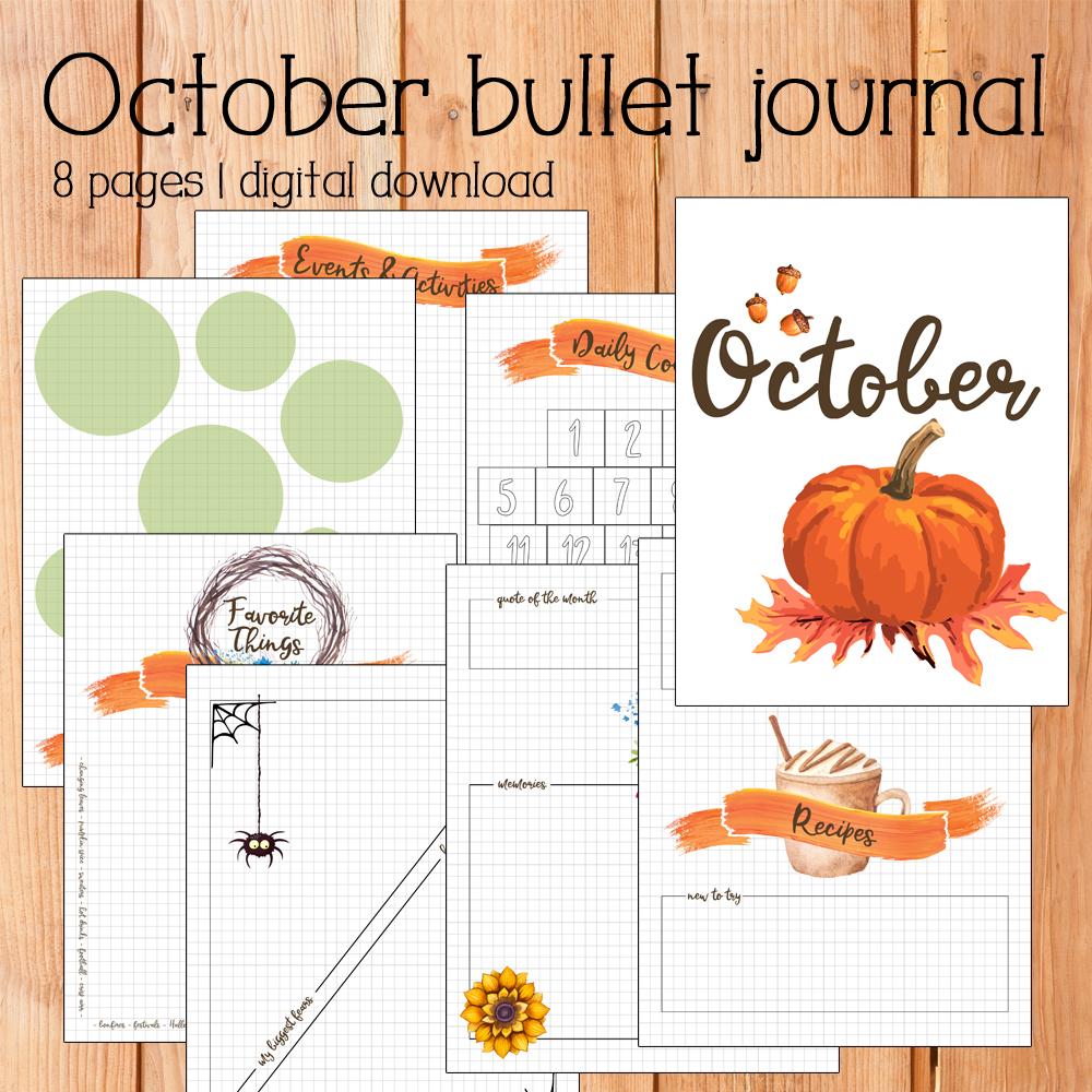 October monthly bullet journal