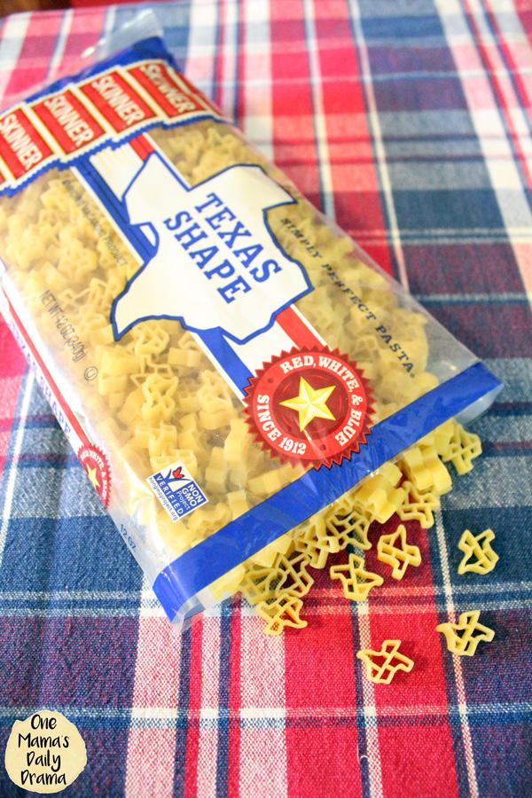 Texas shape Skinner pasta