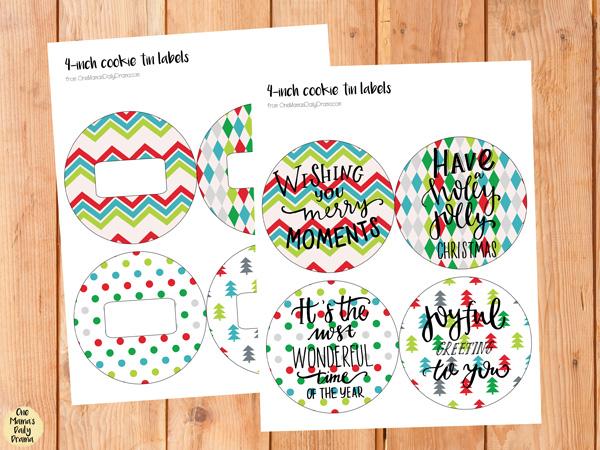 Printable circle gift tag for Christmas cookie tins