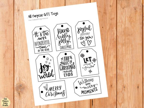 Printable all purpose Christmas holiday gift tags