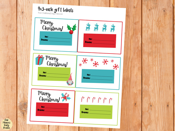 Printable rectangle gift tags for paint bucket mini gift basket