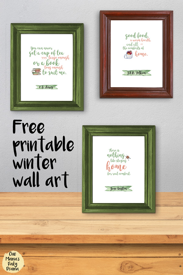 Free printable winter wall art quotes / JRR Tolkien, CS Lewis, Jane Austen