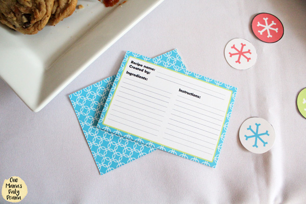 a blue and white recipe card with lines to fill in name, creator, ingredients, and instructions