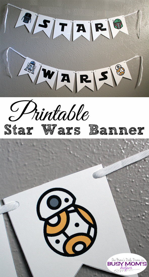 Printable Star Wars banner from Busy Mom's Helper