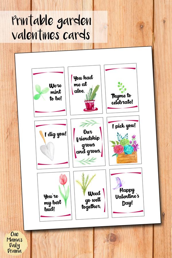 Printable garden valentines cards