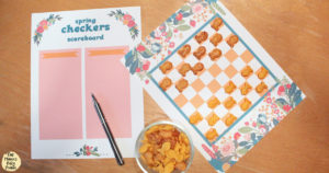 Printable spring checkers game with Goldfish crackers