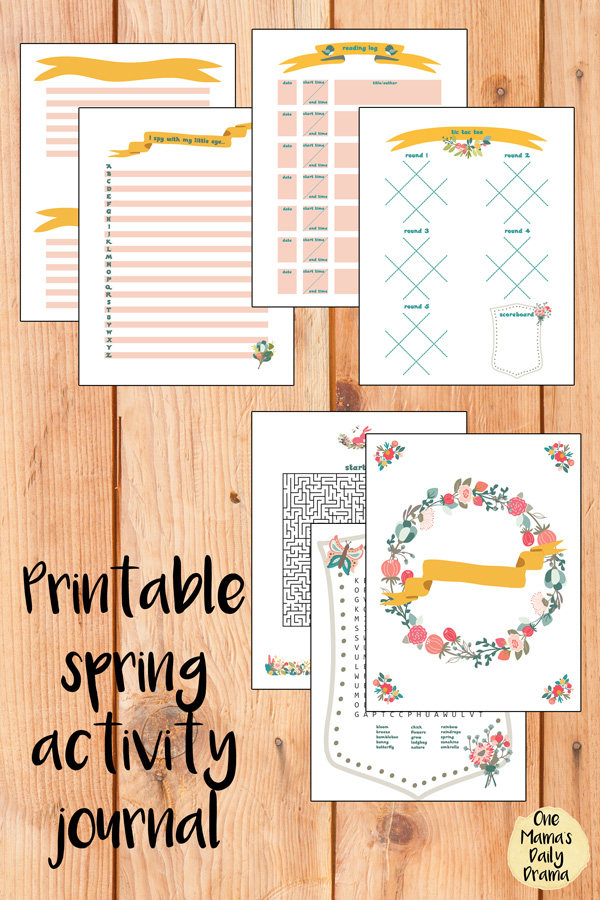Printable spring activity journal with drawing, writing, and games for tweens and teens
