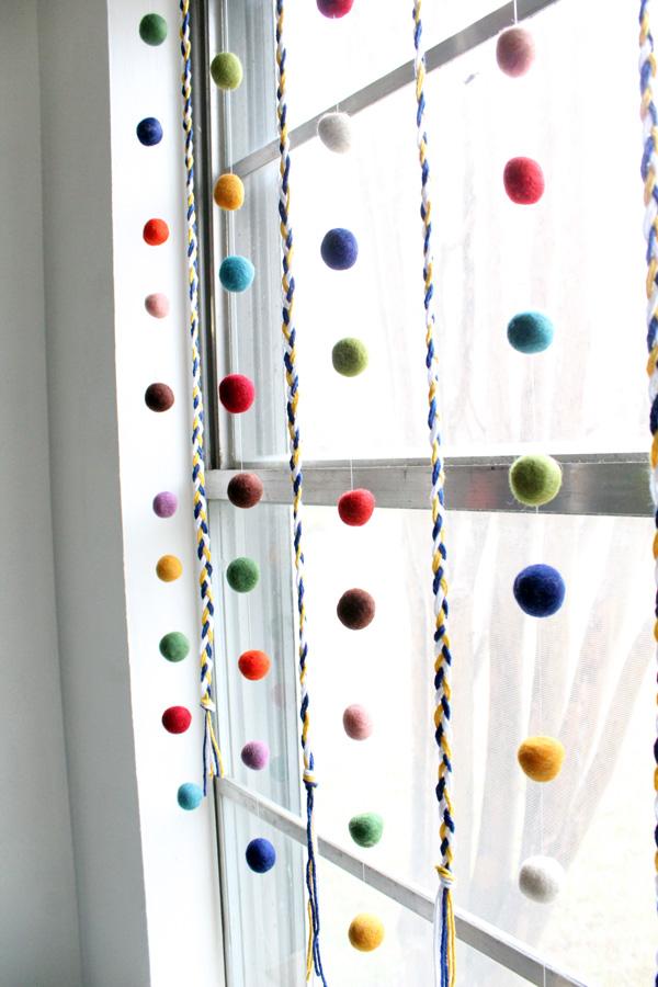 braided yarn and felt ball garland