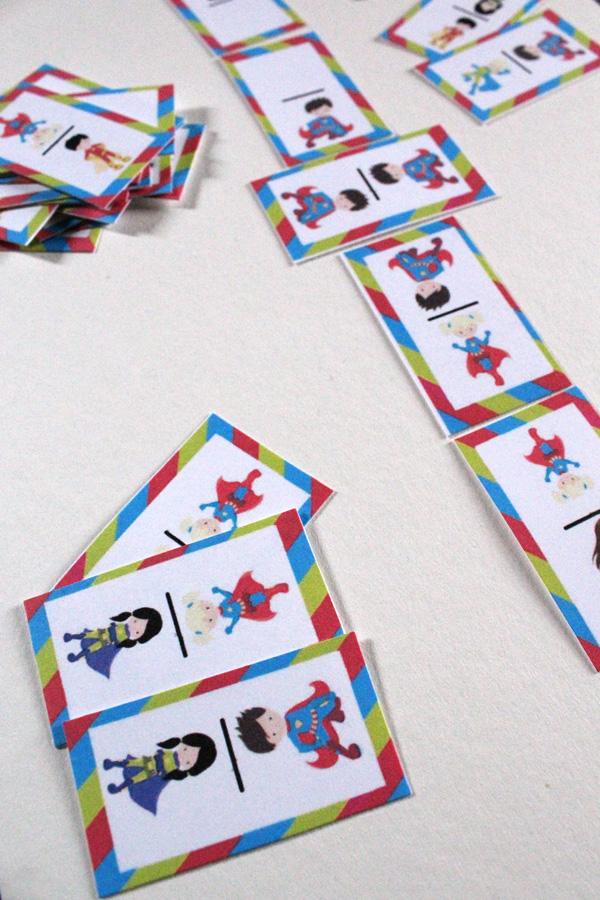superhero dominoes stacked