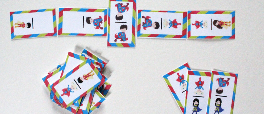Printable superhero dominoes game for kids