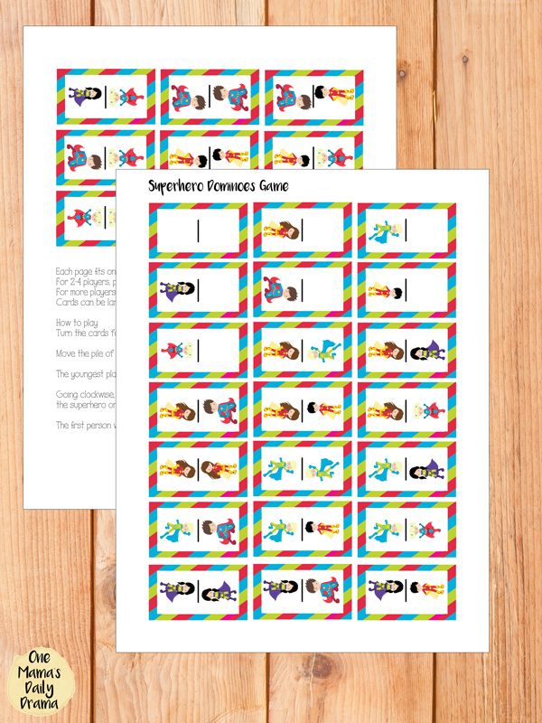 printable superhero dominoes game preview