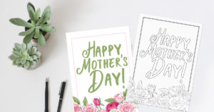 Printable Mother's Day card: pretty watercolor design or color your own card