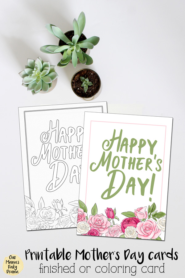 Printable Mother's Day cards: pretty watercolor design or color your own card