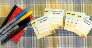 Free printable summer contact cards from One Mama's Daily Drama