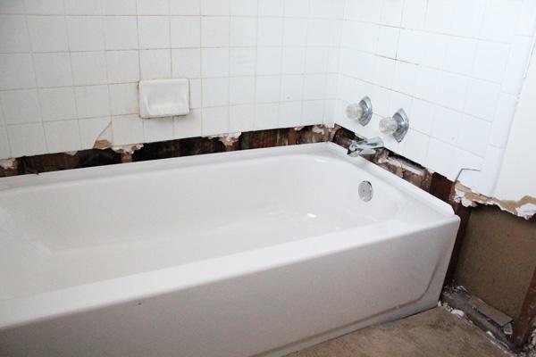 bathroom remodel: bathtub view after