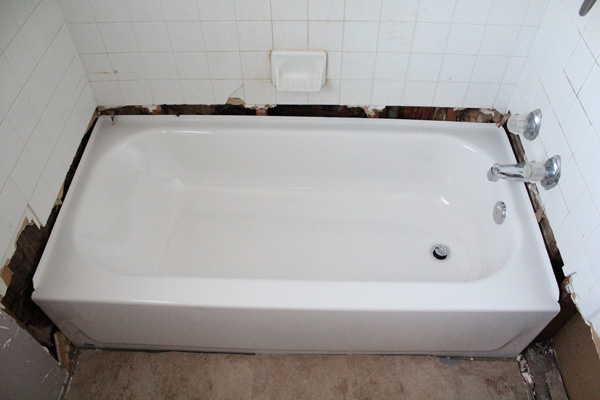 bathroom remodel: new tub in place