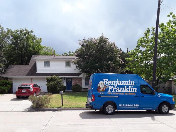 bathroom remodel: Benjamin Franklin Plumbing in front of our home