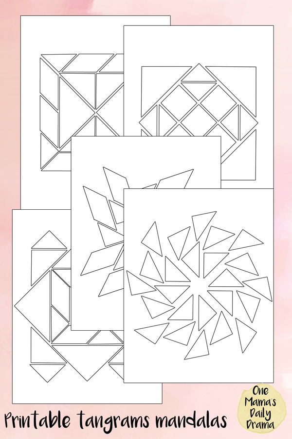 photograph relating to Printable Tangrams known as Tangrams mandala puzzles printable matching + coloring