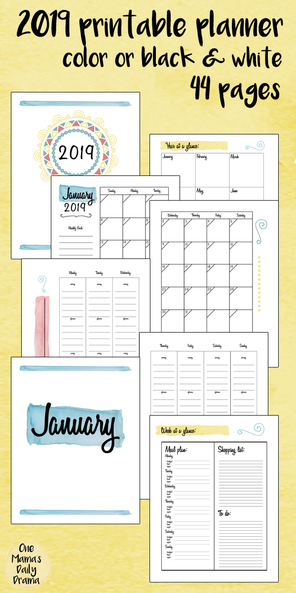 the Keri Houchin Design 2019 Printable Planner is an 8.5x11 inch PDF that comes in color or black and white.