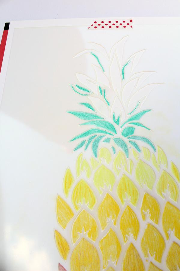 pineapple stencil light green rows
