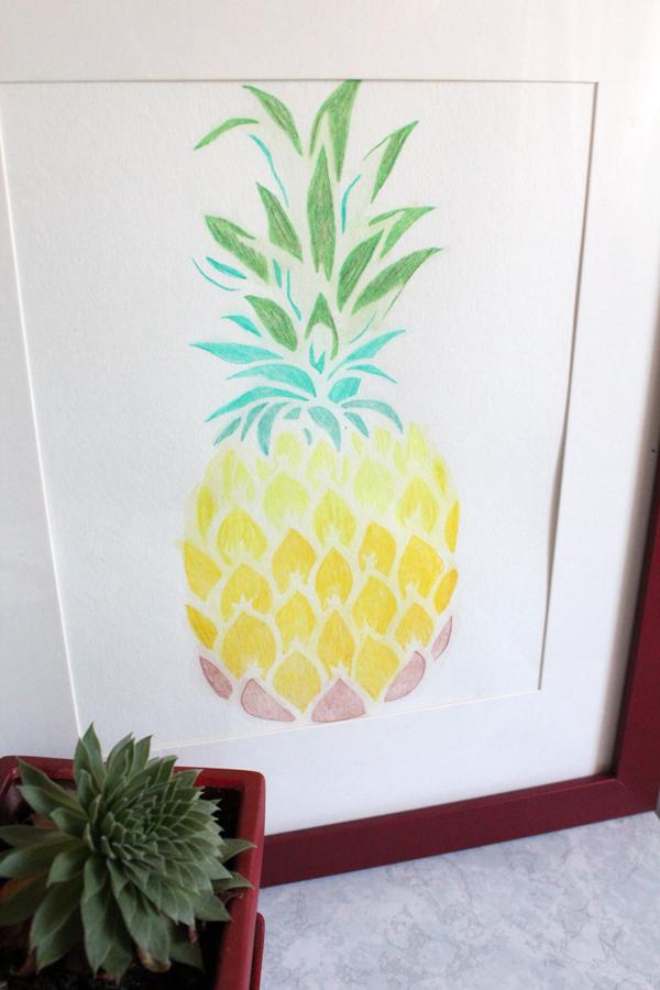 pineapple stencil watercolor art project