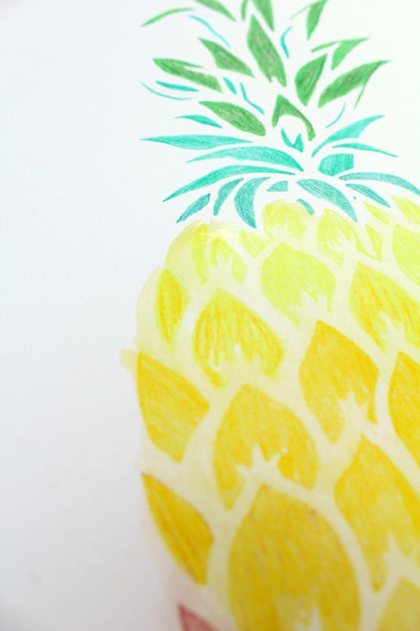 pineapple stencil pattern up close