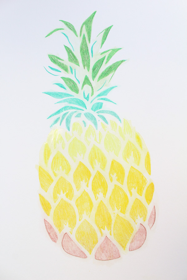 pineapple stencil completed watercolor design