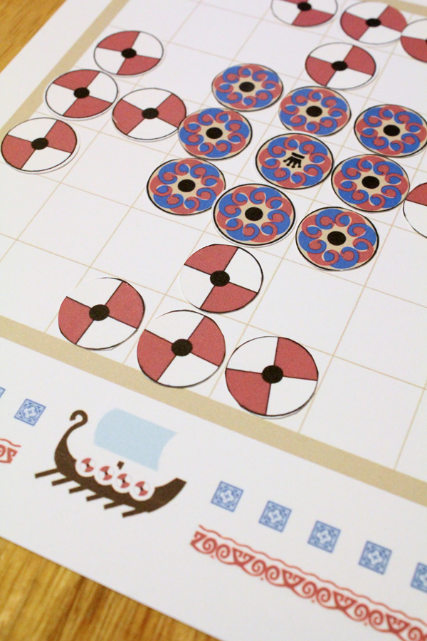 Tafl game set up closer view