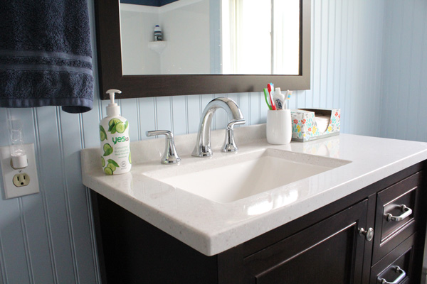 bathroom remodel: sink and vanity with mirror