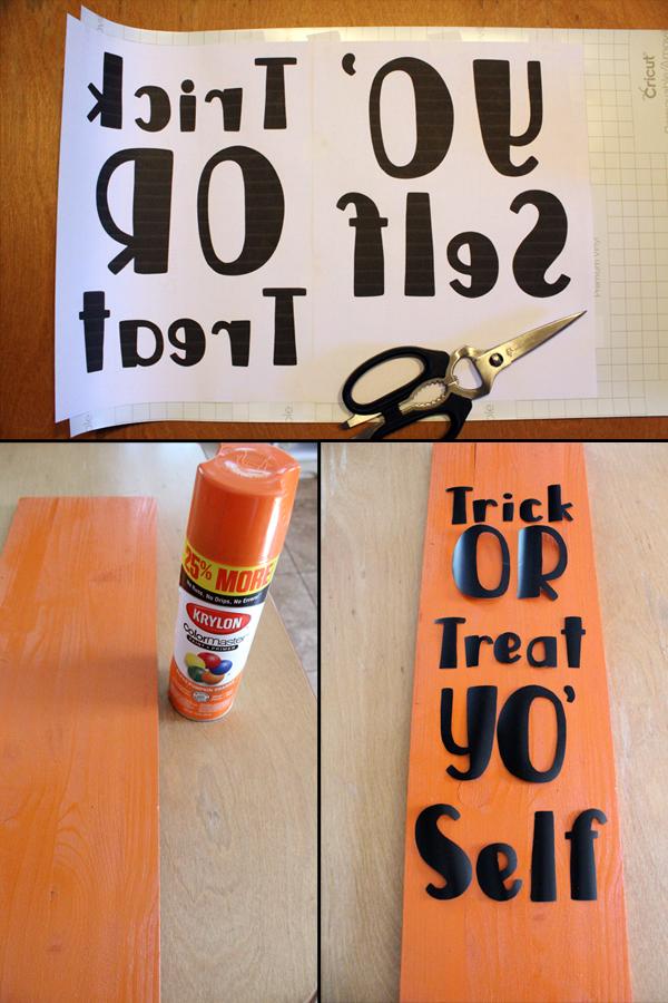 Vinyl sign steps: paint, cut vinyl, and transfer