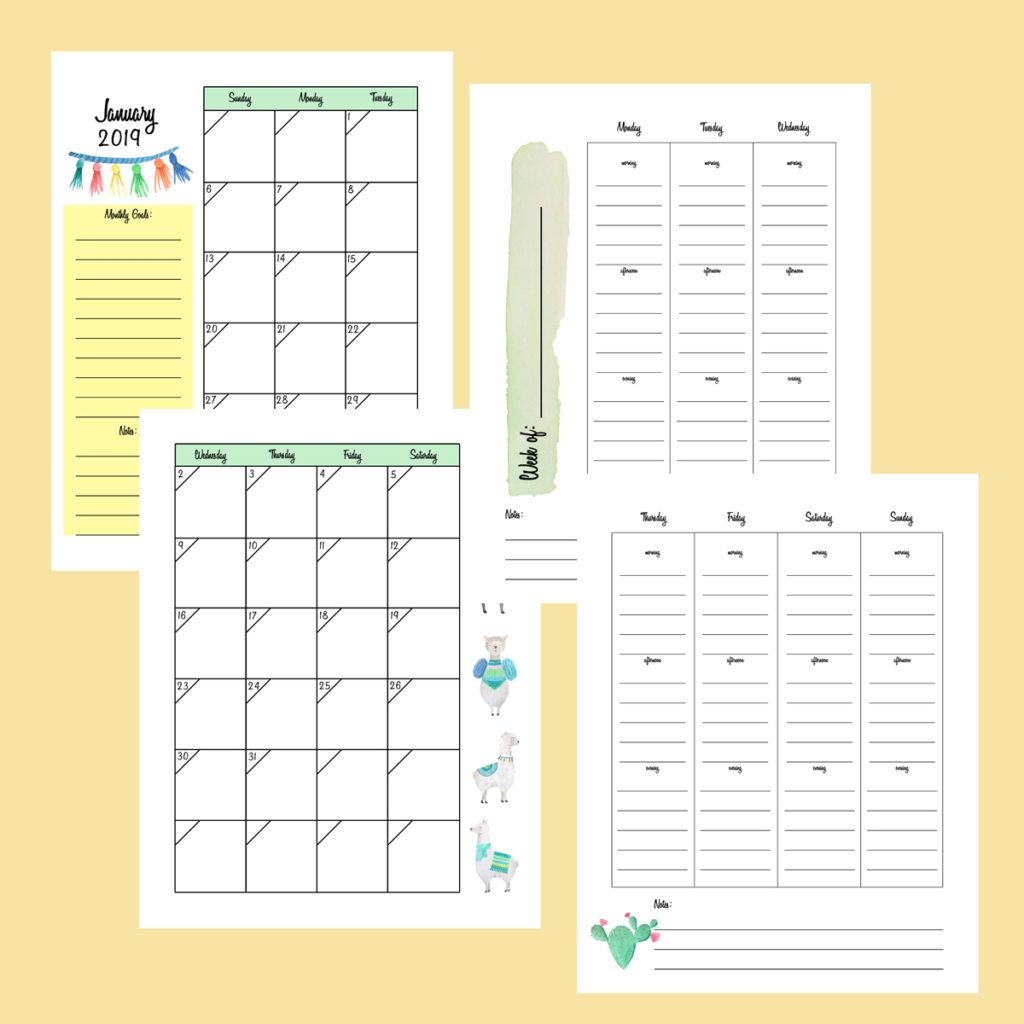 2019 printable planner llama edition