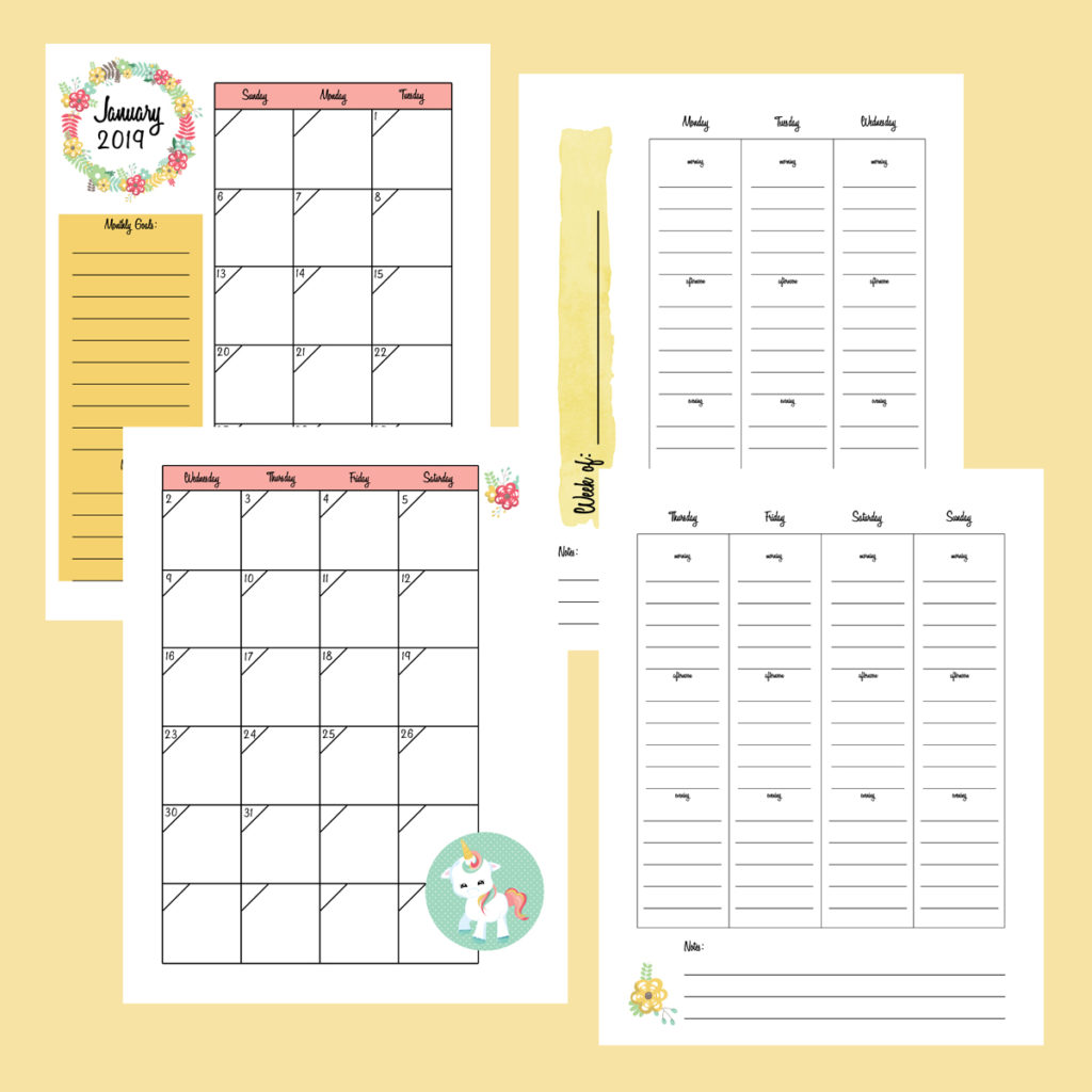 2019 printable planner unicorn edition