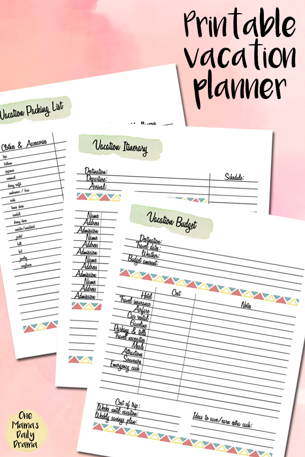 It's just a photo of Versatile Vacation Planner Printable