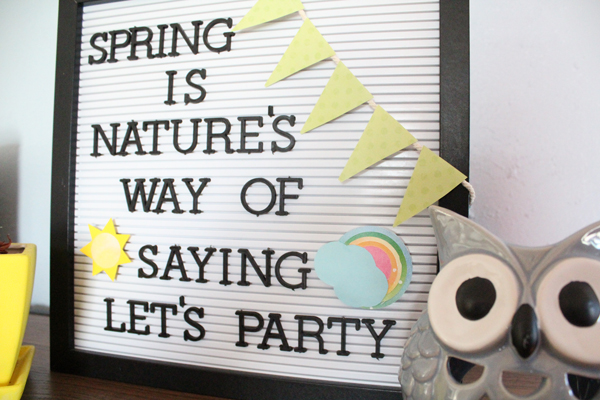 A letter board is a cute way to change out your decor with the seasons without spending much. Although you can purchase letter board accessories, they are easy to make yourself with scrapbook paper and a few odd letter pieces.