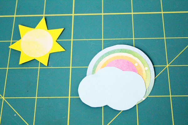 spring letter board accessories: sun and rainbow cloud