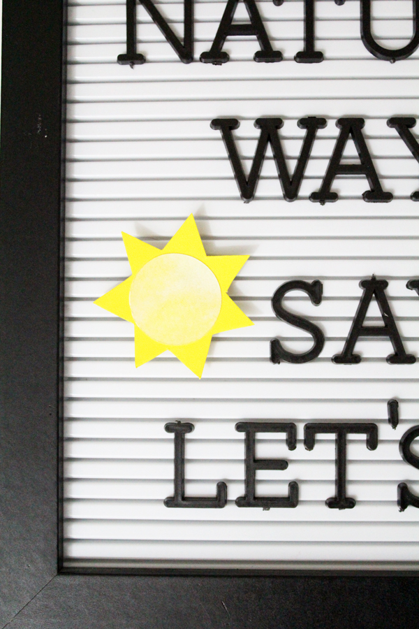 spring letter board accessories: sun