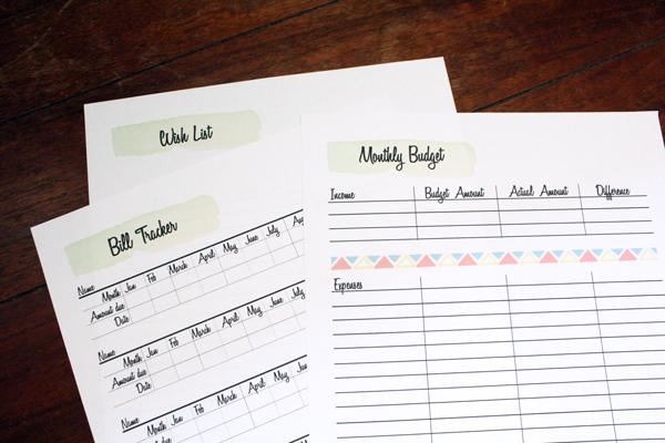 printed paper bill tracker, wish list, and monthly budget
