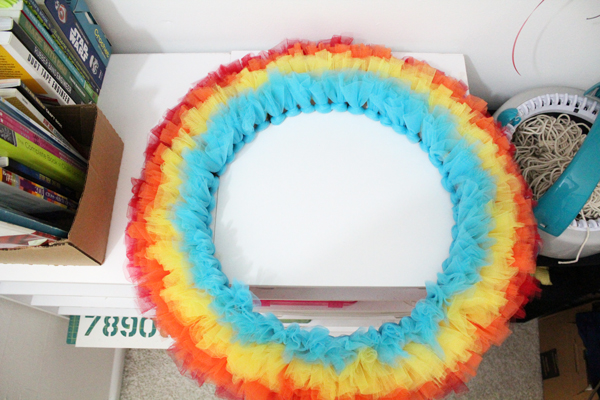 complete row of blue tulle on wreath