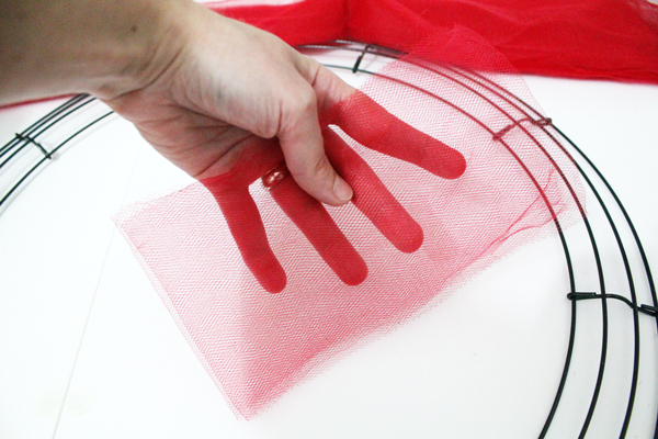 hand folding tulle