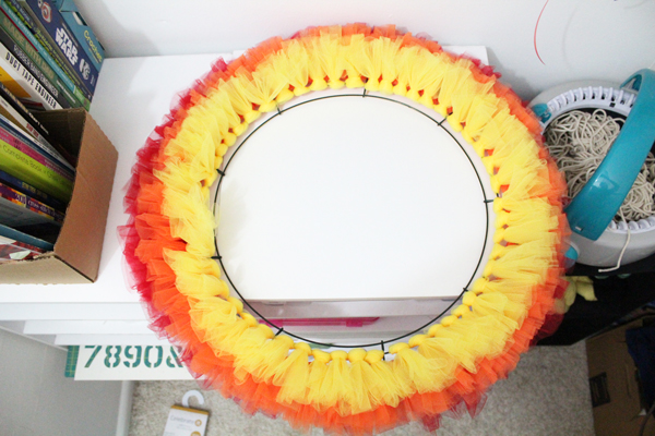 complete row of yellow tulle on wreath