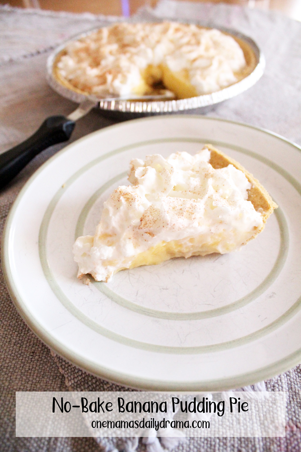 slice of banana pudding pie on a plate