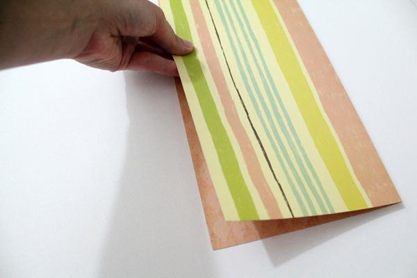 striped paper folded in half