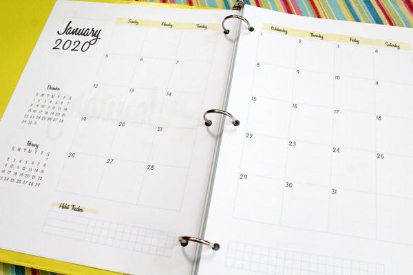 Closeup of the January 2020 monthly calendar