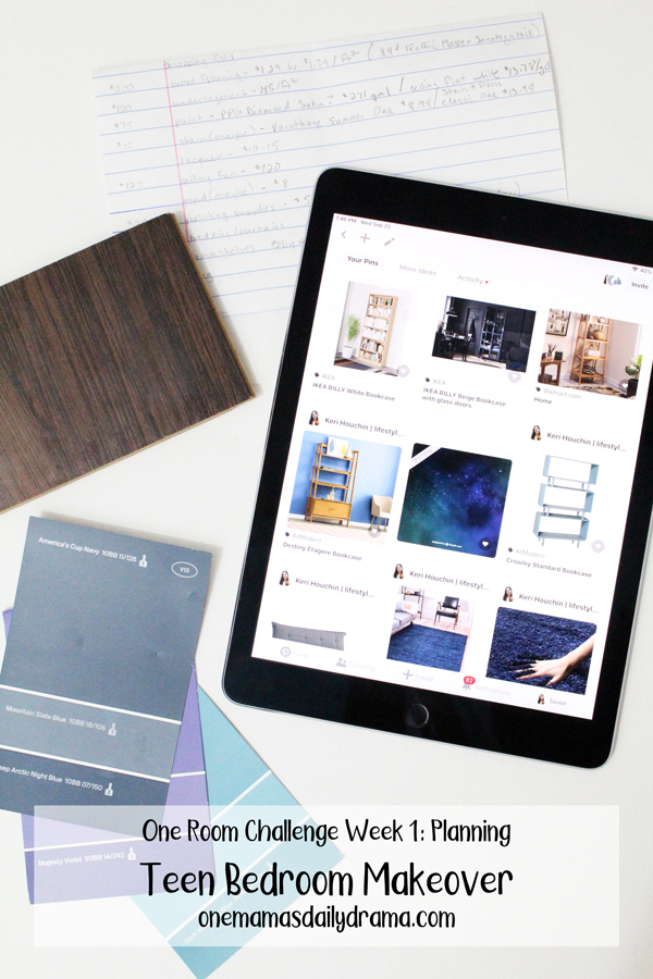 iPad with Pinterest showing images of blonde furniture, blue rugs, space patterns beside paint and flooring samples