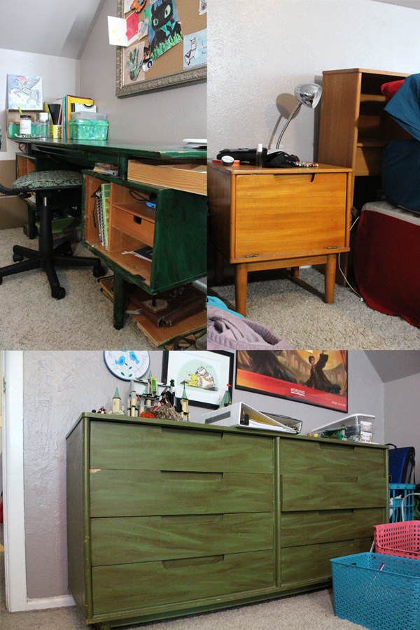 a collage of 3 photos of vintage Drexel bedroom furniture in varying stages of natural and painted green