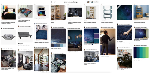 screenshot of Pinterest showing images of blonde furniture, blue rugs, space patterns, and dark rooms