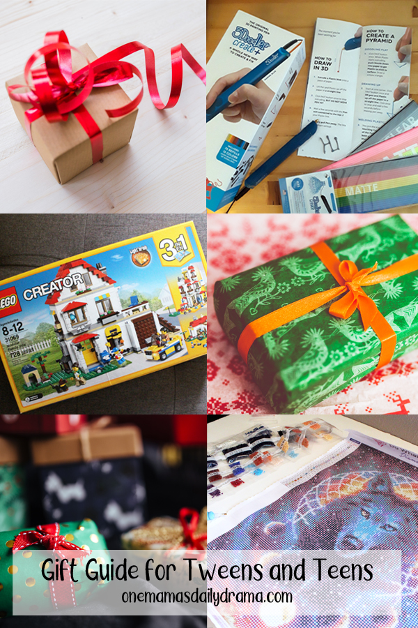 collage of wrapped gifts and tween gift ideas