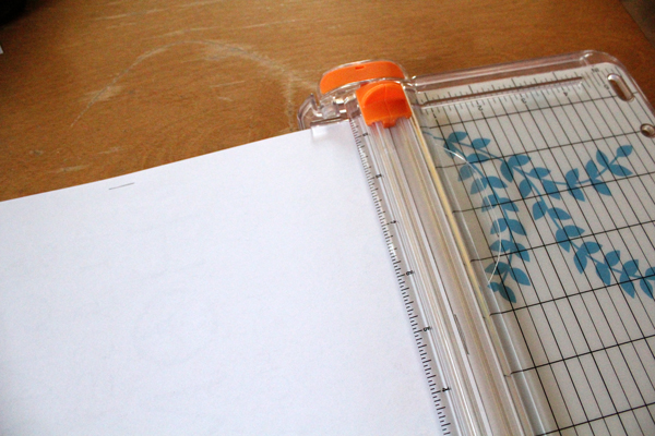 artwork in a wire paper trimmer